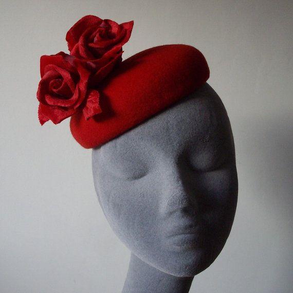 Red Handblocked Felt Beret Hat with Red Velvet Roses
