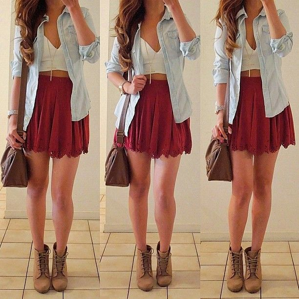Denim and red skirt-with some sweater stockings underneath.