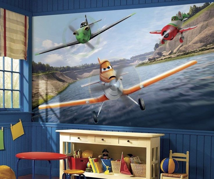 New XL DISNEY PLANES PREPASTED WALLPAPER MURAL Airplanes Bedroom Wall Decor #Unbranded