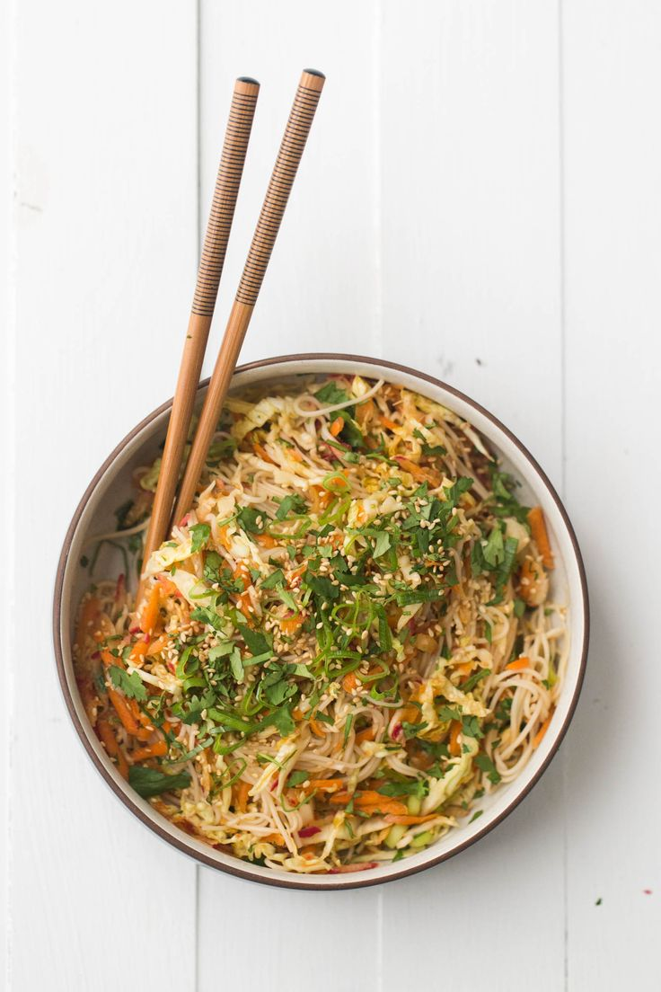 An easy vegan cold noodle salad that features shredded vegetables marinated in a simple dressing and tossed with quick-cooking somen noodles.
