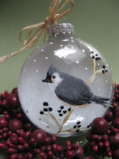 Titmouse painted on glass ornament ^__^