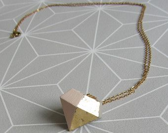 Concrete bicolor goud-roze kleur diamanten koppeling halsketting