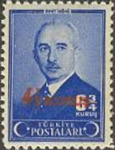 1945 Postal Stamp, Ismet Inonu, Surcharged