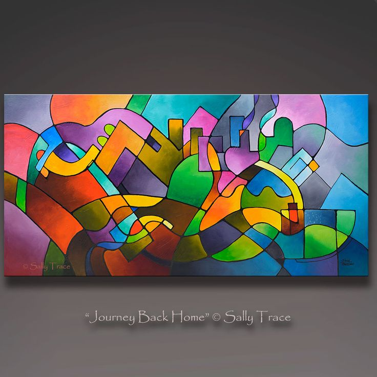 """Original abstract painting, """"Journey Back Home"""", an abstract cityscape or landscape with a geometric composition and a textured surface. Acrylic mixed media on canvas, 24"""" high, 48"""" wide, 1½ inch deep gallery wrapped canvas. The sides are painted black."""