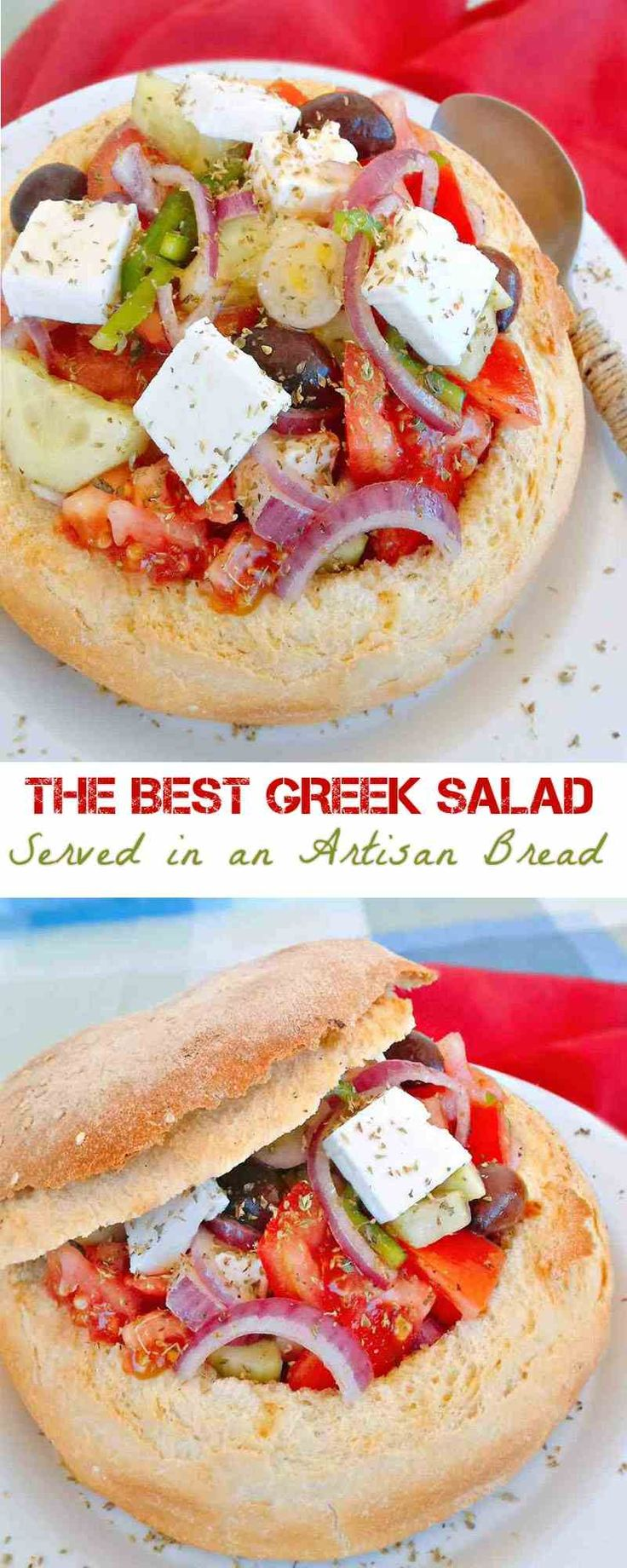 This Greek Salad is absolutely amazing. Being stuffed in an Artisan Bread, that soaks all the flavors from the delicious dressing. Serve it on your next BBQ and wow your friends. Cut a piece of it like a cake and serve.  #Greeksalad #salad #vegetarian #apetizer #easyrecipe #Greekfood
