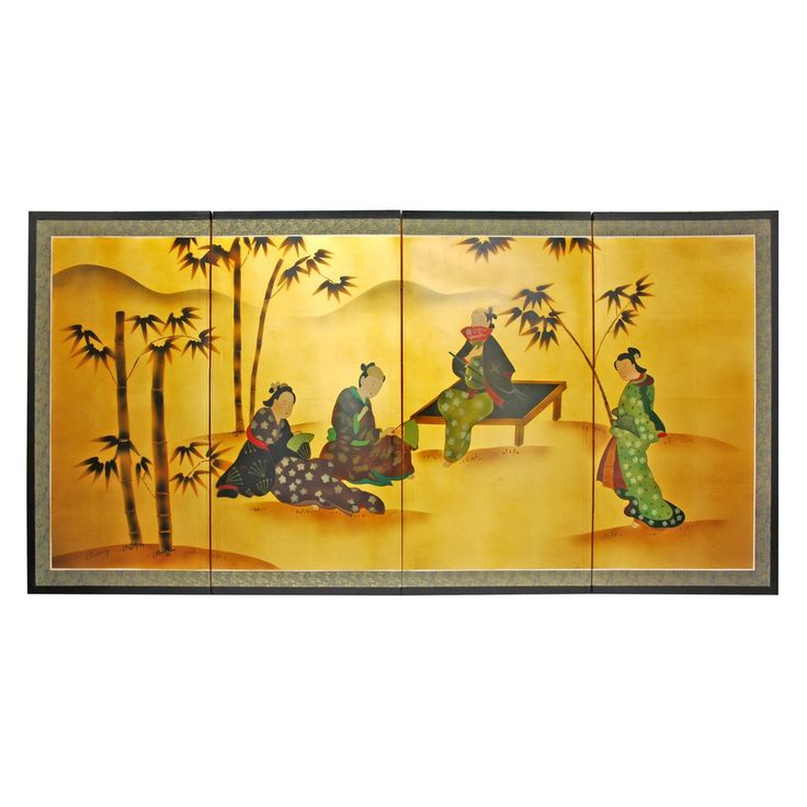 Oriental Furniture 36 in. Ladies and Bamboo Room Divider - SILK-LADYBAMBOO