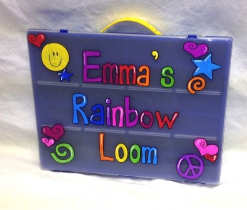 Personalized rainbow loom case - $25. A great way to keep your loom and bands organized and in one place. Our personalized rainbow loom case is available in 3 colors and your choice of text and design. A perfect holiday gift!