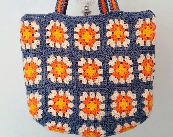 Crochet Bag, Crochet della borsa della, Crochet Beach Bag, borsa Retro, nonna piazza borsa, borsa a tracolla Crohcet, borsa estiva, regalo per lei