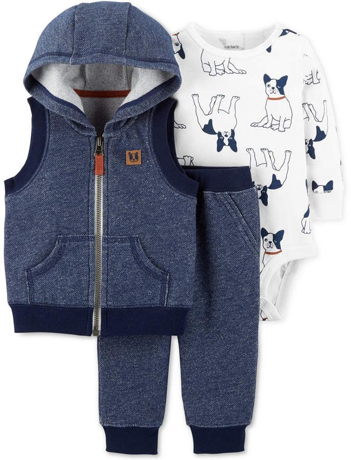 7c9aa5bc7 Carter's 3-Pc. Hooded Vest, Dog-Print Bodysuit & Pants Set | Kids ...