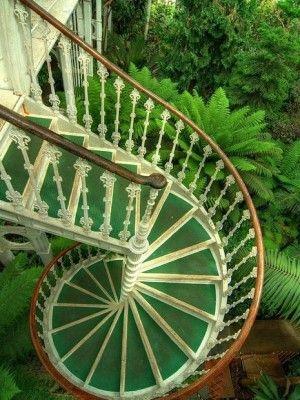 Stairs: Spirals Staircases, Spirals Stairs, Green, Kew Gardens, Outdoor Stairs, London England, Ferns, Gardens Stairs, Stairways
