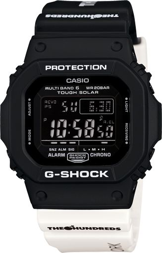 Casio G-Shock GWM5610TH-1 - G-Shock releases the second collaborative timepiece with Los Angeles based street fashion brand, The Hundreds. With two-tone black and white, the GWM5600TH-1 is simplistic in design, yet packs a powerful punch, incorporating G-Shock's rugged and tough technical elements of Shock and Water resistance along with Atomic Timekeeping and Tough Solar Power. | #Watches #MenStyle #GShock #Casio |