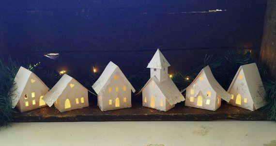 All White Putz Little Glitter House Christmas Village Handmade White Or Silver Glitter Vintage Mica Flakes In 2020 Glitter Houses Christmas Village Outdoor Christmas Decorations
