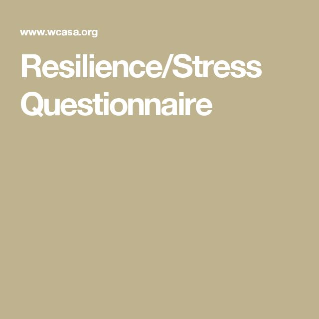 Resilience/Stress Questionnaire