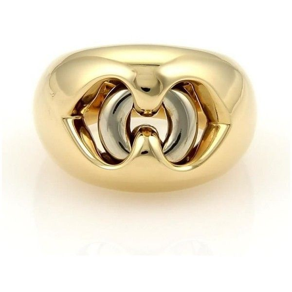 preowned bulgari bvlgari 18k yellow u0026 white gold dual open heart dome liked on polyvore featuring jewelry rings open heart jewelry