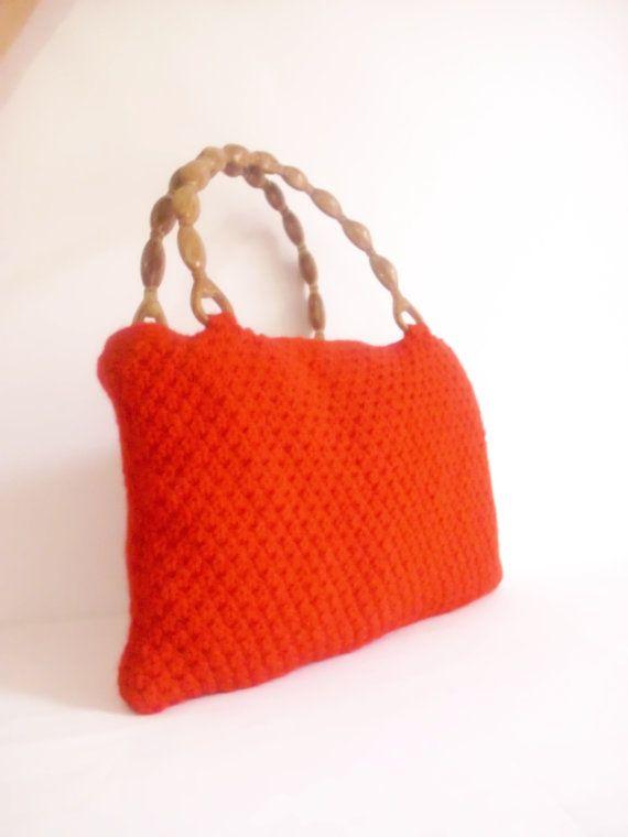 RED color Crocheted Handbag afghan crochet RED by modelknitting, $49.00