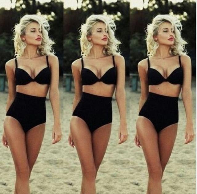 High Waist Swimsuit Padded Bikini Vintage Swimwear Push Up Bathing Suit Beach Wear Cloth
