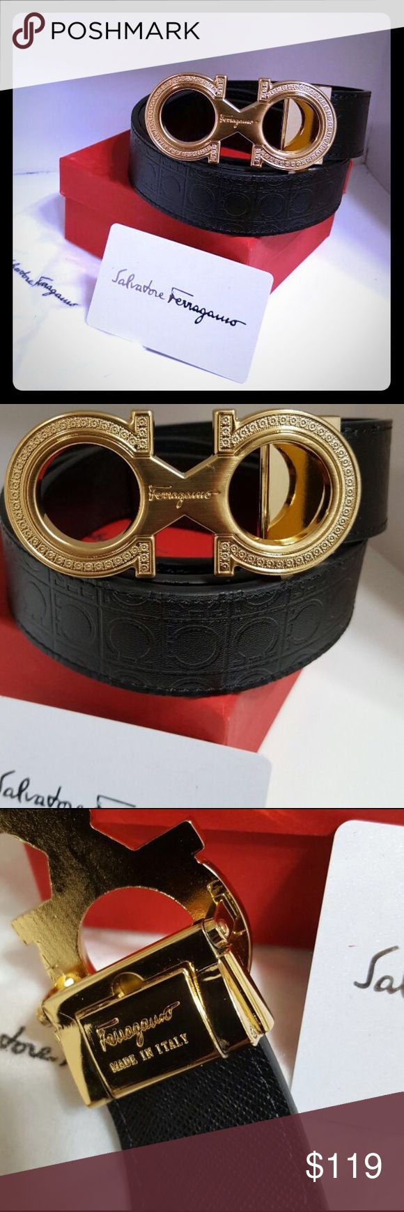 Mens S Ferragamo Belt 115/46 Sharp Black and Gold Ferragamo Belt, Card, Boz and Dust Bag Included Salvatore Ferragamo Accessories Belts