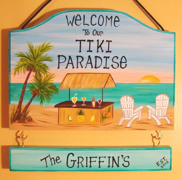 Captivating Custom Hand Painted Welcome To Our Tiki Hut Beach Paradise Camping Or  Backyard Home Yard Beach Summer Sign Personalized Signs W/ Names