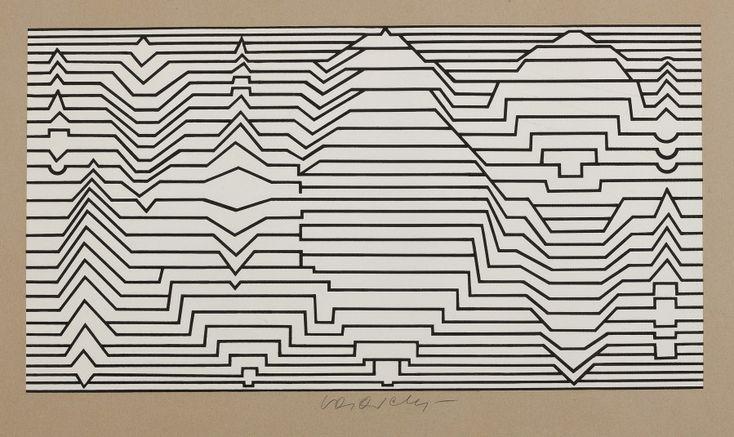 Victor VASARELY ( 1906 - 1997)  Composition linéaire  24,5 x 47 cm  Sérigraphie en noir et blanc, signée en bas au centre.  Bonnes marges. Cadre  Expert: Sylvie Collignon 01 42 96 12 17 - Aguttes - 29/09/2016