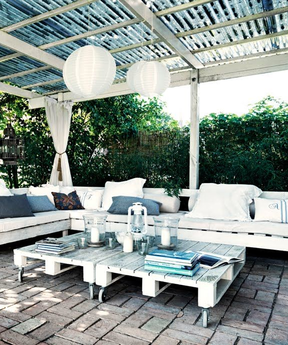 Outdoor Patio On A Budget. Furniture Made Of Pallets Topped With Cushions  Add Pillows And