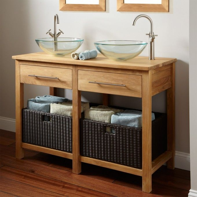 Images On Bathroom Amazing Natural Polished Pine Wood Rustic Bathroom Vanities With Double Glass Bowl Sink And High Arc Handle Faucet Bath With Ope