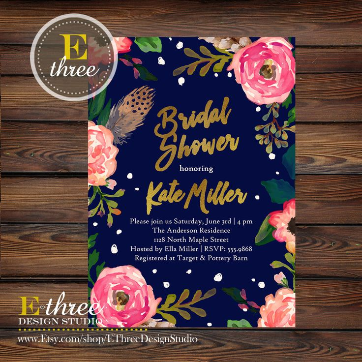 Bridal Shower Invitations - Navy, Gold, Pink, Coral - Flowers and Feathers - Wedding Shower Invitation - Gold Foil by EThreeDesignStudio on Etsy https://www.etsy.com/listing/271028198/bridal-shower-invitations-navy-gold-pink