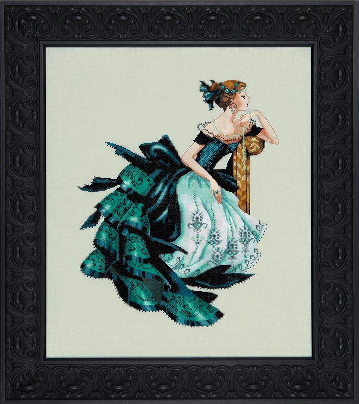 NORA CORBETT-MIRABILIA DESIGNS: Deep, dark and lovely, Veronica sits in her Victorian theater ball gown. She is framed by black Gothic satin and jewels from distant lands. Her jade necklace is the per