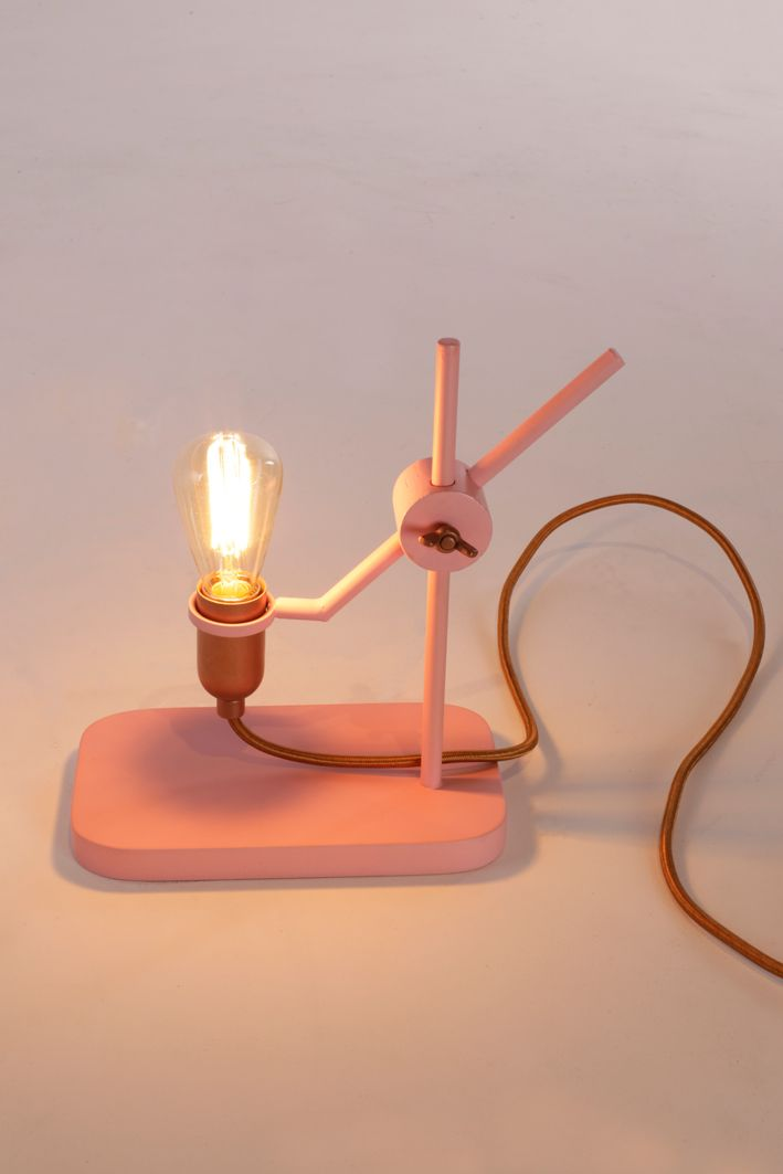 MATERIAL Pink powder coated wood with copper   DIMENSIONS (WxHxD) Lighten Up: 200x240x120 mm  CONCEPT A lamp loved by a wide audience, with an open and honest design, that lasts a lifetime. That's what Jolanda van Goor had in mind when she designed this hand-made and adjustable table lamp, made of metal and wood. They are available in copper and bronze, and in combinations of pink with copper, black with bronze, and white with bronze.  PHOTOGRAPHY Studio Jolanda van Goor  YEAR 2015