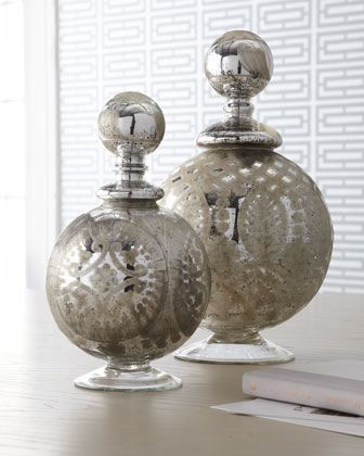 """Neiman Marcus' collection of """"mercury style glass"""" products would work beautifully in combination with vintage pieces."""