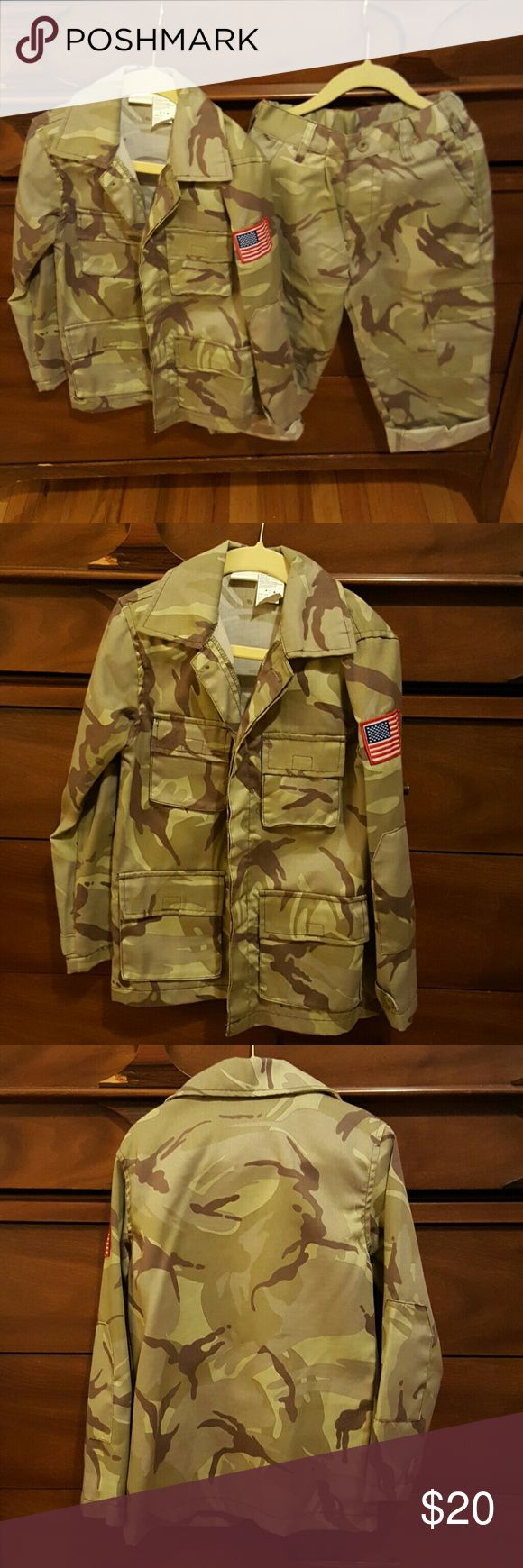 Army outfit, kids size 4-6 Very cute army outfit, worn a few times for pictures.  Set comes as two pieces.  Top is long sleeve button down shirt with the American flag on the leg arm.  Pants can be rolled or unrolled, my kids are short.  No visible wear on them.  Tag says kids 4-6. Pony Express Costumes Halloween