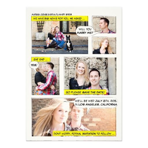 Perfect for the geeky couple in love. Create your own comic romance with these cute invitations from 2birdstone. http://www.zazzle.co.uk/comic_book_strip_save_the_date_custom_invitation-161118774904305720