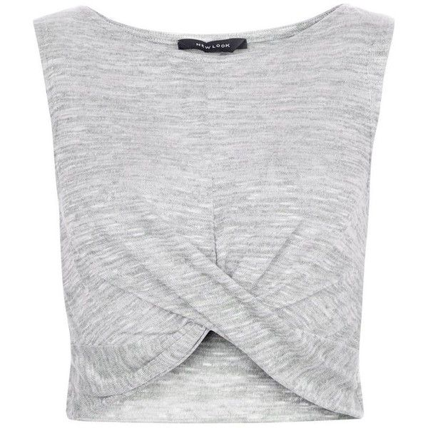 New Look Pale Grey Fine Knit Twist Front Crop Top found on Polyvore featuring tops, crop tops, crop, shirts, tank tops, round neck top, light grey shirt, shirt tops, sleeveless tops and sleeveless shirts