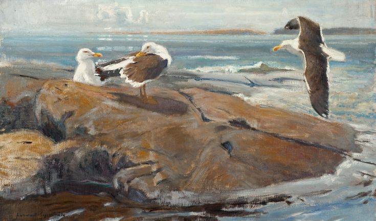 SEAGULLS, 1916  Lennart Rafael Segerstråle (1892-1975) - He studied at the University of Helsinki 1910-1911, and later in Copenhagen, Det kgl. Akademiet for de Skjønne Kunster - school in 1929. His work was included in exhibitions of Finnish Artists over the years 1913 to 1967. Segerstråle also participated in many exhibitions held abroad.