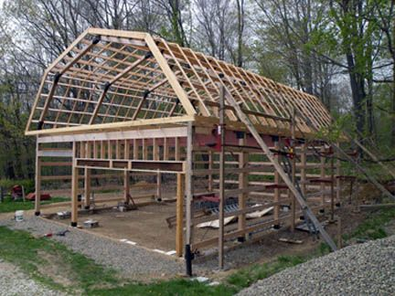 Build a modified post and beam frame barn house and A frame barn plans