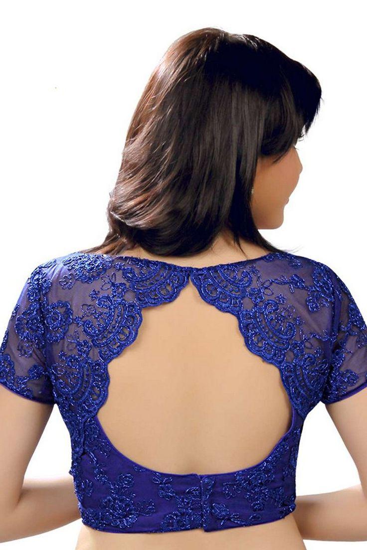 Indigo #blue designer wear raw #silk & #lace blouse with high neck with key hole -BL592