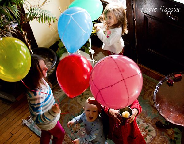 Love the Leave Happier kids playing with their balloons and cups!