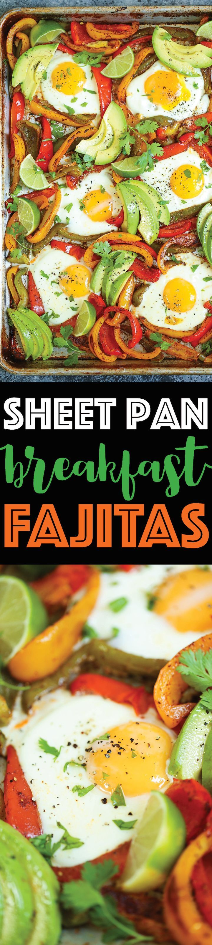 Sheet Pan Breakfast Fajitas - Everyone's favorite fajitas for breakfast! Loaded with bell peppers and eggs that cook right on the sheet pan! EASY CLEAN UP!