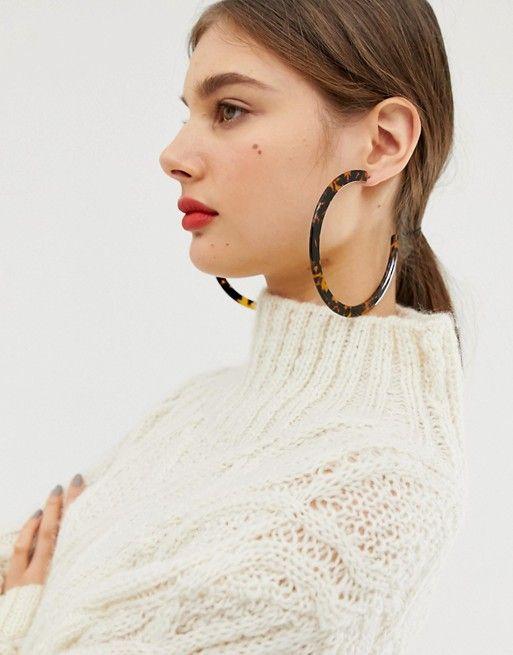 cc14145c8d371 DESIGN 10cm hoop earrings in tortoiseshell   best of ASOS ...