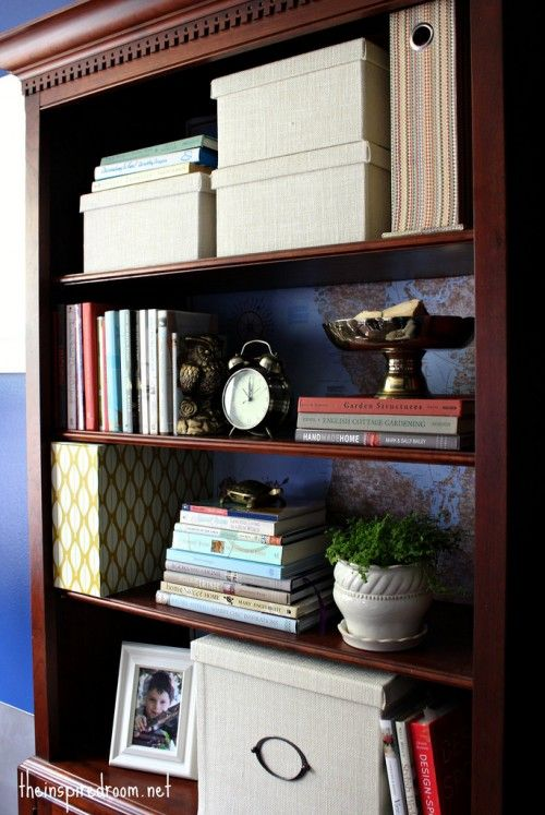 Lighten Up A Dark Bookcase Without Paint Home Office Makeover Crafts I Ll Probably Never Do Wood
