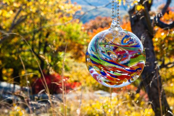 Rainbow Memorial Glass Keepsake Orb with Cremains - Engravable Memorial - Great Keepsake for Pet Cremation Ashes