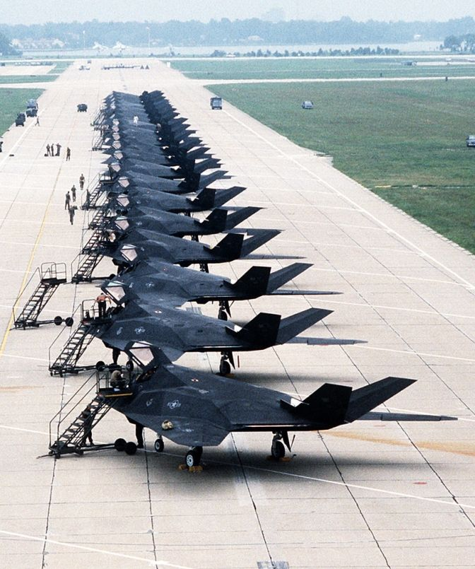 "F-117A Nighthawks is a single-seat, twin-engine stealth attack aircraft that was developed by Lockheed's secretive Skunk Works division and operated by the USAF. The F-117 was widely publicized for its role in the Gulf War of 1991. Although it was commonly referred to as the ""Stealth Fighter"", it was a strictly ground-attack aircraft.  The Air Force retired the F-117 on 22 April 2008, primarily due to the fielding of the F-22 Raptor."