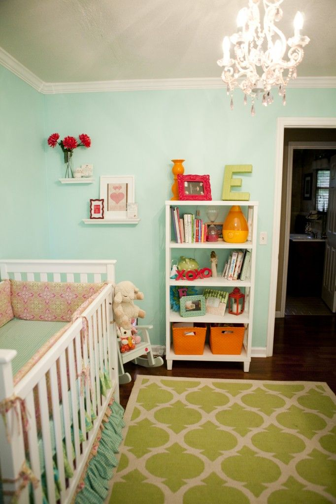 Love this paint color - Misty Teal by Benjamin Moore. Also, love the layered greens in this nursery!Furniture Placement