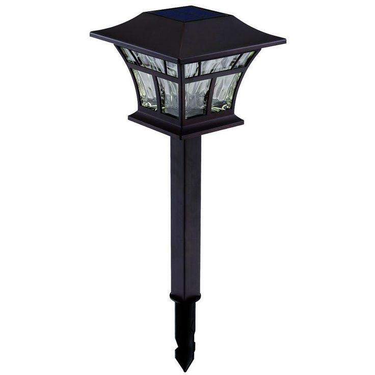 Hampton Bay Mediterranean Bronze Solar Path Light (4-Pack)-93044 - The Home Depot: original lights, $50 for 4