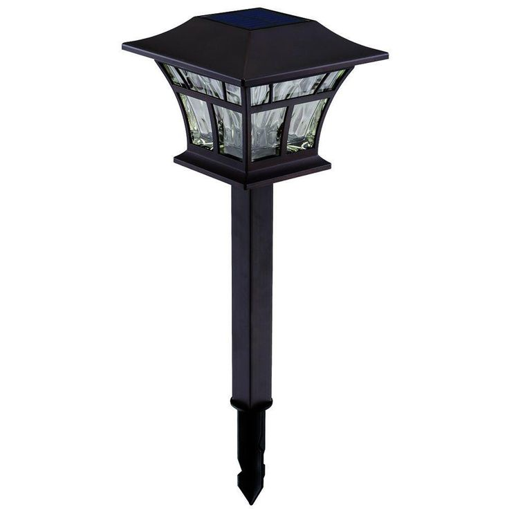 Hampton Bay Mediterranean Bronze Solar Path Light (4-Pack)-93044 - The Home Depot: original lights, $50 for 4