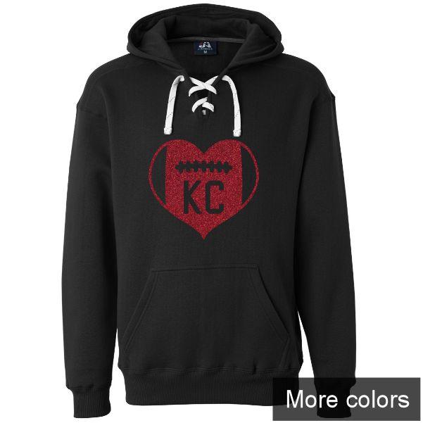 KC Football Heart Hoodie - Custom Colors
