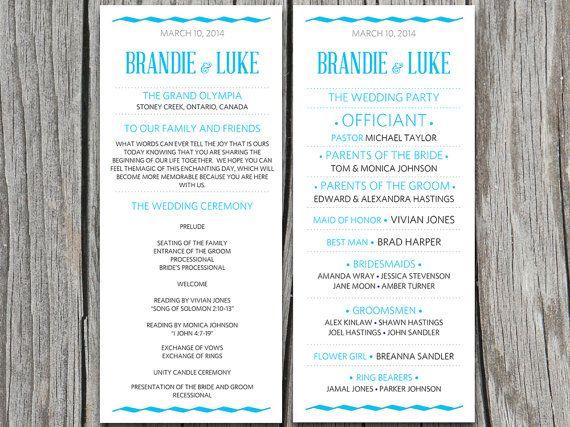 Diy Modern Typography Wedding Program Microsoft Word Template Malibu Blue And Grey Printable