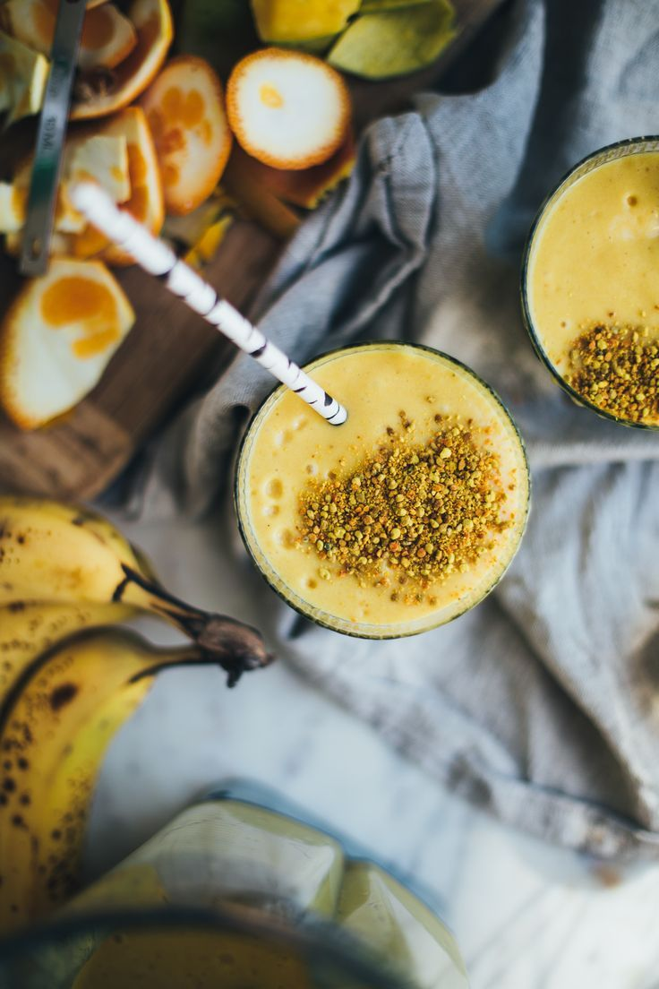 Turmeric Mango Smoothie with Bee Pollen, Ginger and Maca - Will Frolic for Food