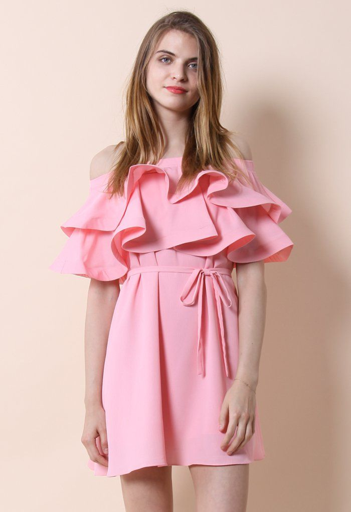 Darling Ruffled Off-shoulder Dress in Candy Pink - Retro, Indie and Unique Fashion $56 Chicwish
