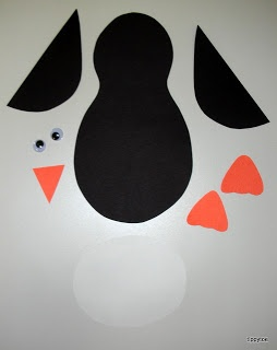 Penguins craft: just give the kids the pieces and let them put it together however they like! Fun to see what they look like!!