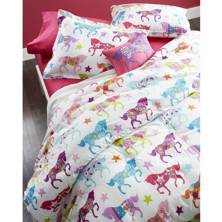 horse show bedding ride on colorful cowgirl pretty horses with flowers and stars - Fun Kids Sheets